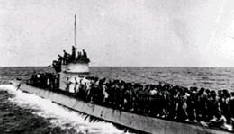 Survivors of the sunken Laconia cramped on the upper deck of U-156
